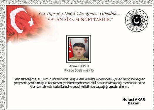 Barış Pınarı Harekatı'nda Bir Askerimiz Şehit Düştü