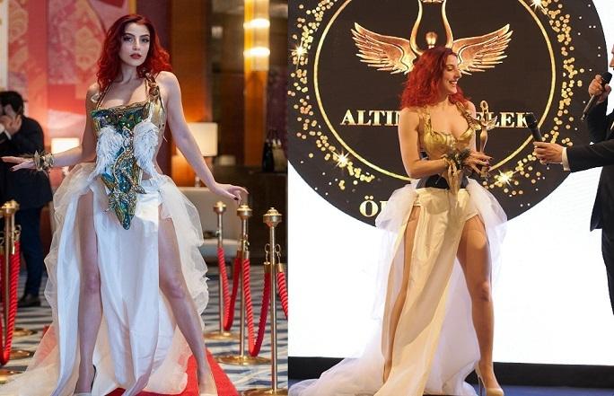 İnce Belli Model Ödül Kıyafetiyle Olay Yarattı