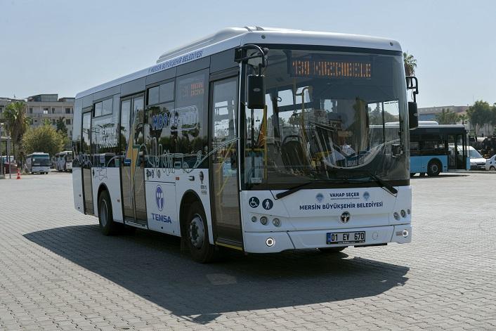 Mersin'de Elektrikli Halk Otobüsleri test sürüşüne çıktı